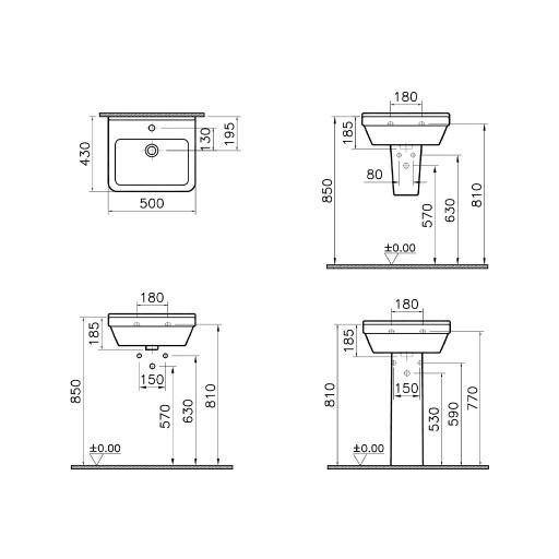 VitrA S50 Square Single Tap Hole Basin - 500 mm