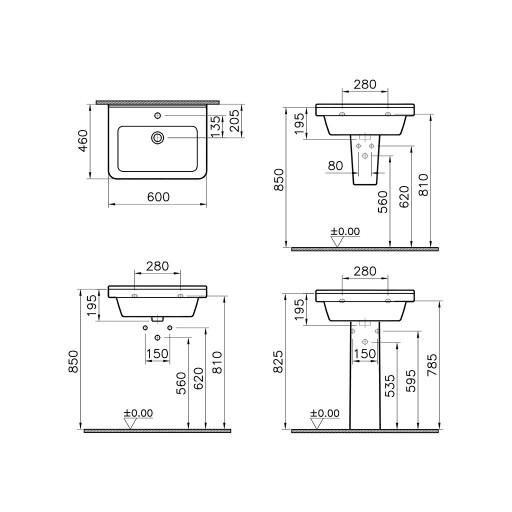 VitrA S50 Square Single Tap Hole Basin - 600 mm