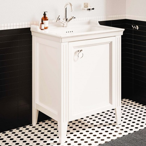 VitrA Valarte Right Hinged Matt White Vanity Unit & Single Tap Basin - 650MM