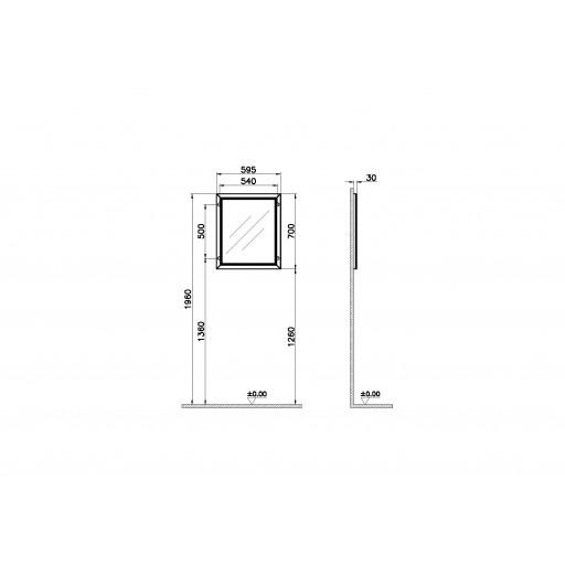 VitrA Valarte Matt Ivory Flat Mirror - 595MM
