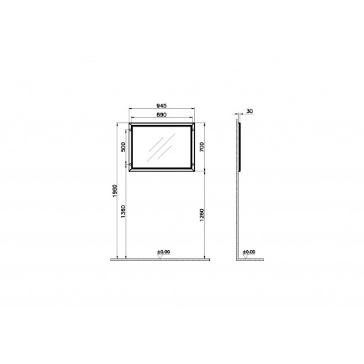VitrA Valarte Matt Grey Flat Mirror - 945MM