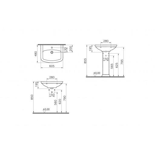 VitrA Serenada Basin 605MM - Double Tap Hole