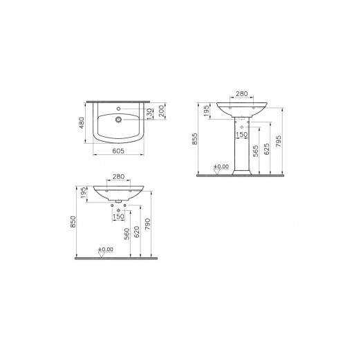VitrA Serenada Basin 605MM - Single Tap Hole