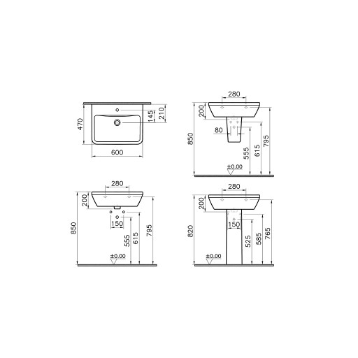 VitrA Integra Square Basin - 600MM x 470MM