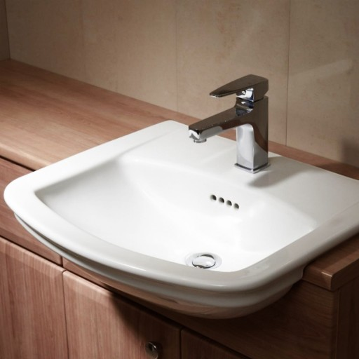 VitrA Serenada Semi Recessed Basin 565MM - Single Tap Hole