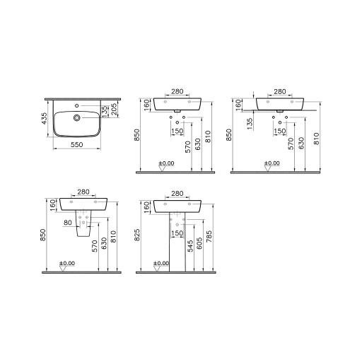 VitrA Shift Centre Tap Hole Basin - 550MM x 430MM