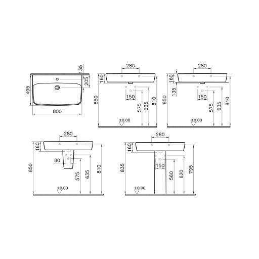 VitrA Shift Centre Tap Hole Basin - 800MM x 495MM