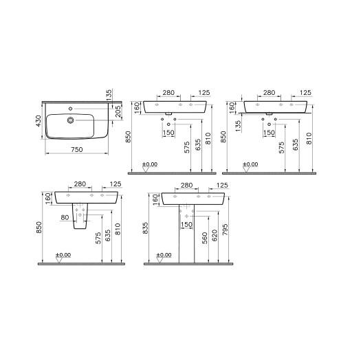 VitrA Shift Asymmetrical Basin - 750MM x 430MM