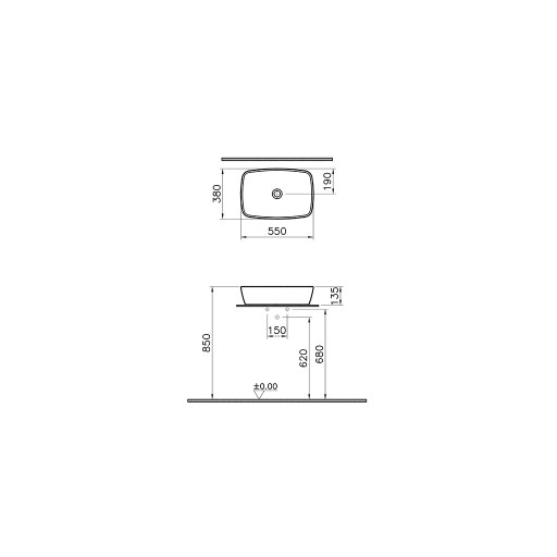 Vitra Shift No Tap Hole Bowl - 550MM x 380MM