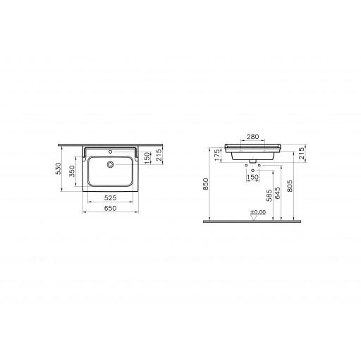 VitrA Valarte Vanity Basin 650MM - Single Tap Hole