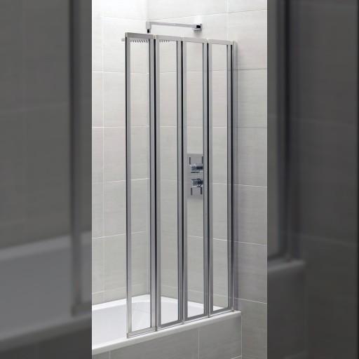 Artesan Hapi6 Chrome Framed 4 Fold Bath Screen - 800MM