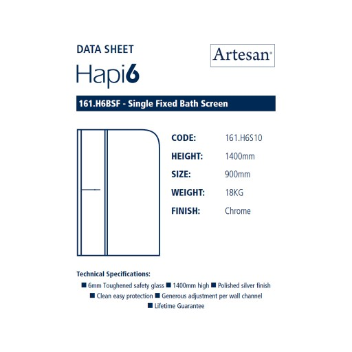 Artesan Hapi6 Chrome Single Fixed Bath Screen - 800 MM