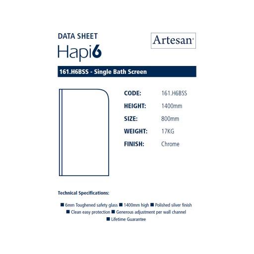 Artesan Hapi6 Chrome Single Bath Screen - 800 MM