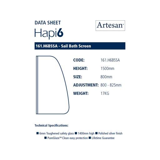 Artesan Hapi6 Chrome Sail Bath Screen - 800 MM