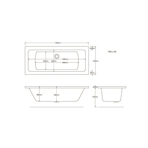 Artesan Canaletto Standard Double Ended Bath - 1700 MM x 750 MM