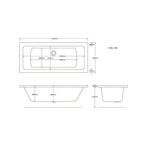 Artesan Canaletto Standard Double Ended Bath - 1700 MM x 700 MM
