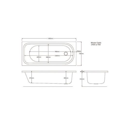 Artesan G Monte Standard Carlo Single Ended Bath - 1400 MM x 700 MM