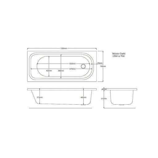 Artesan G Monte Standard Carlo Single Ended Bath - 1500 MM x 700 MM