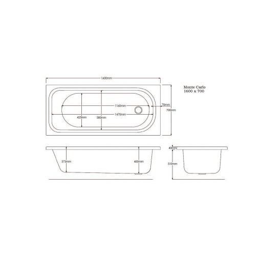 Artesan G Monte Standard Carlo Single Ended Bath - 1600 MM x 700 MM