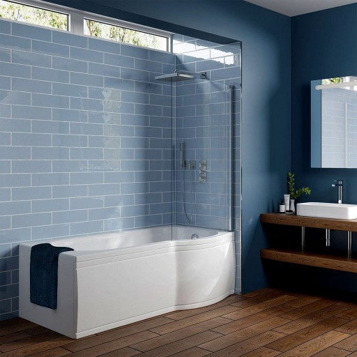 Artesan G P Shaped Shower Bath - 1675 mm x 750 mm