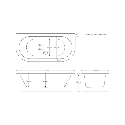 Trojan D Shaped Double Ended Bath - 1700MM x 800MM