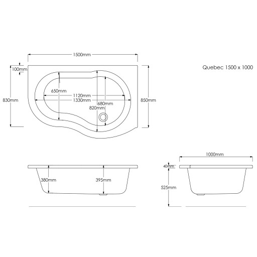 Trojancast Quebec Wavy Offset Corner Bath - 1500MM x 1000MM