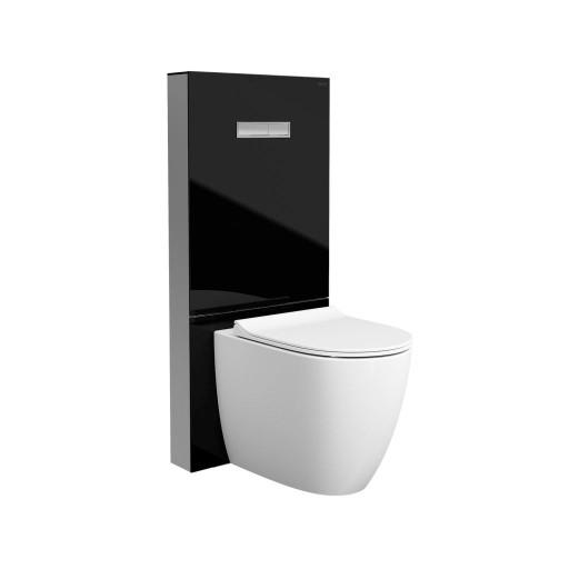 VitrA Vitrus Glass Concealed Cistern - 3/6 Litre Back to Wall Toilet Frame - Black