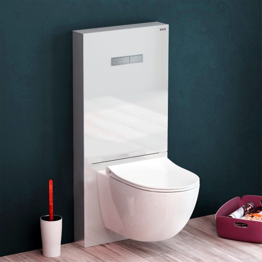 VitrA Vitrus Glass Concealed Cistern - 3/6 Litre Wall Hung Toilet Frame - White