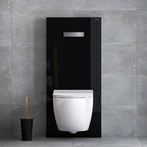 VitrA Vitrus Glass Concealed Cistern - 3/6 Litre Wall Hung Toilet Frame - Black