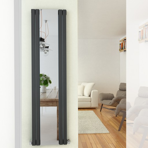 Sanica Fredo Vertical Single Panel Mirrored Steel Designer Radiator