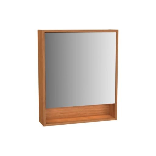 VitrA Integra Illuminated Mirror Cabinet - 600MM - Bamboo - Left Hand Hinged