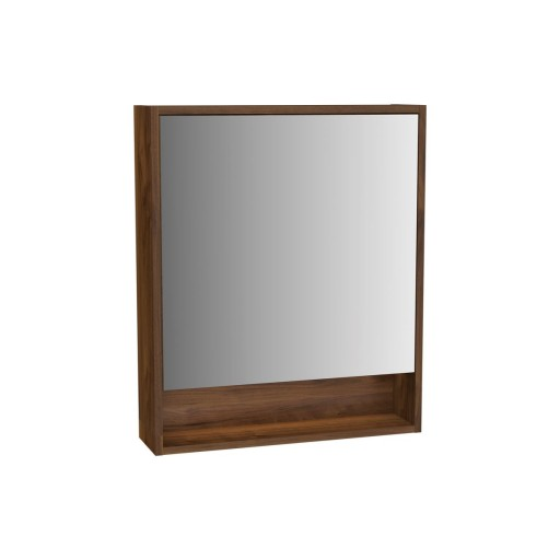 VitrA Integra Illuminated Mirror Cabinet - 600MM - Walnut - Left Hand Hinged
