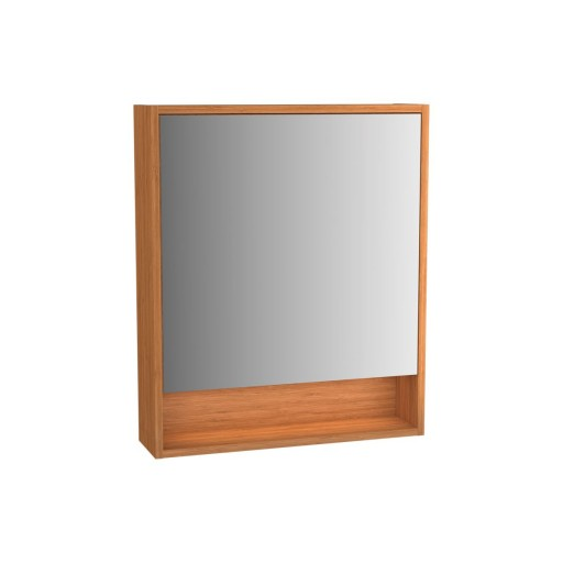 VitrA Integra Illuminated Mirror Cabinet - 600MM - Bamboo - Right Hand Hinged