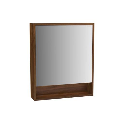 VitrA Integra Illuminated Mirror Cabinet - 600MM - Walnut - Right Hand Hinged