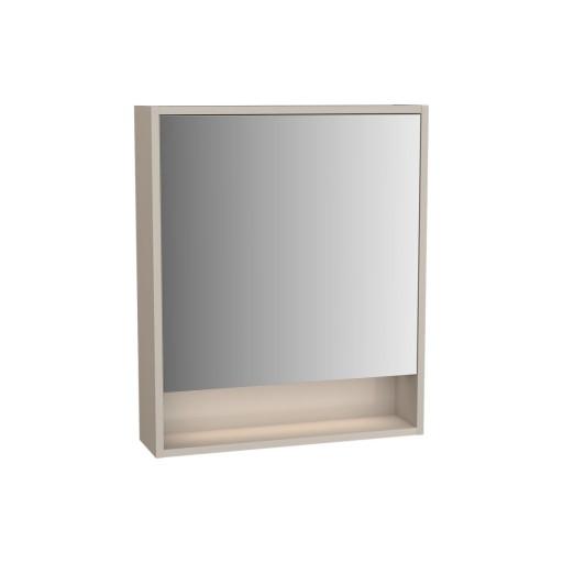 VitrA Integra Illuminated Mirror Cabinet - 600MM - Gritstone - Right Hand Hinged