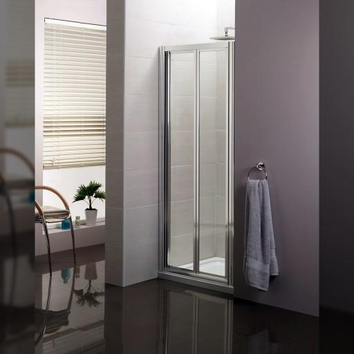 Artesan Hapi6 Chrome Bi-Fold Shower Door - 800MM x 1900MM