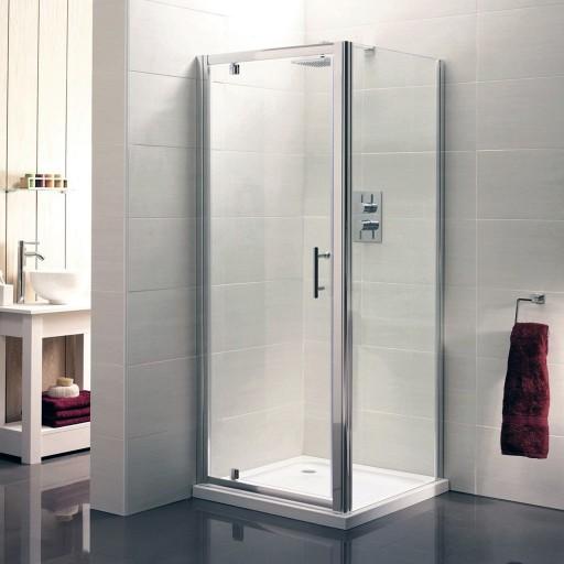 Artesan Hapi6 Chrome Pivot Shower Door - 800MM x 1900MM