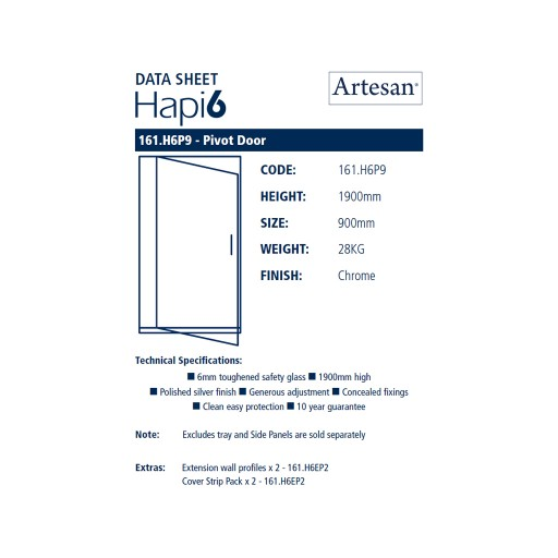 Artesan Hapi6 Chrome Pivot Shower Door - 900MM x 1900MM
