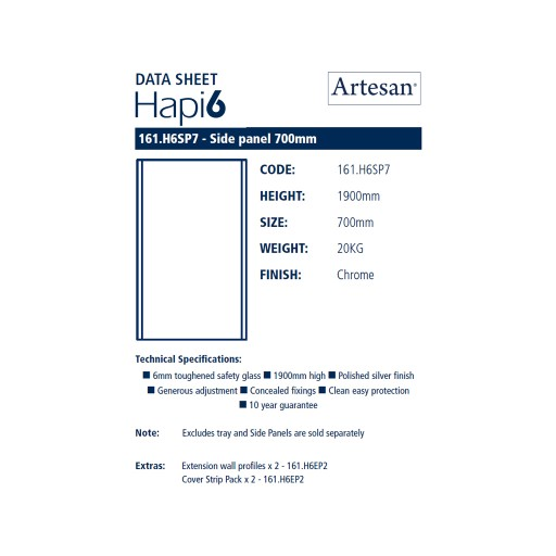 Artesan Hapi6 Chrome Shower Side Panel - 700MM x 1900MM