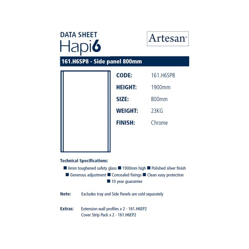 Artesan Hapi6 Chrome Shower Side Panel - 800MM x 1900MM