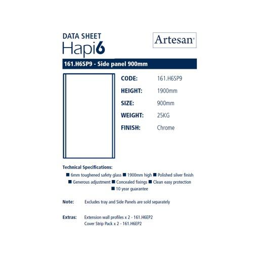 Artesan Hapi6 Chrome Shower Side Panel - 900MM x 1900MM