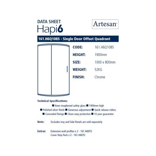 Artesan Hapi6 Single Quadrant Shower Door - Chrome - 1000MM X 800MM