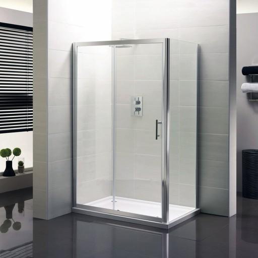 Artesan Hapi6 Chrome Sliding Shower Door - 1600MM x 1900MM