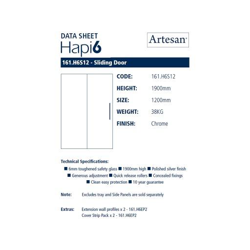 Artesan Hapi6 Chrome Sliding Shower Door - 1200MM x 1900MM
