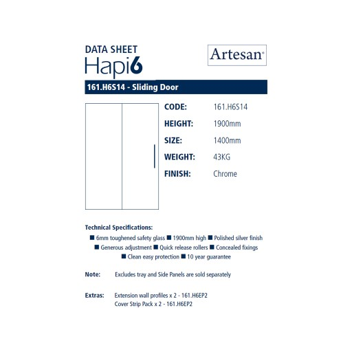 Artesan Hapi6 Chrome Sliding Shower Door - 1400MM x 1900MM