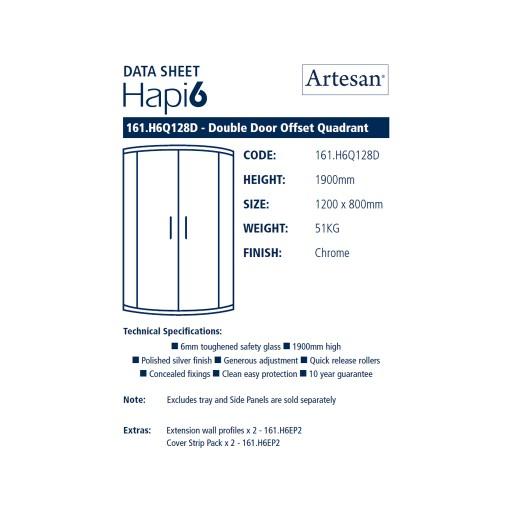 Artesan Hapi6 Double Door Quadrant Shower Enclosure - 1200MM x 800MM