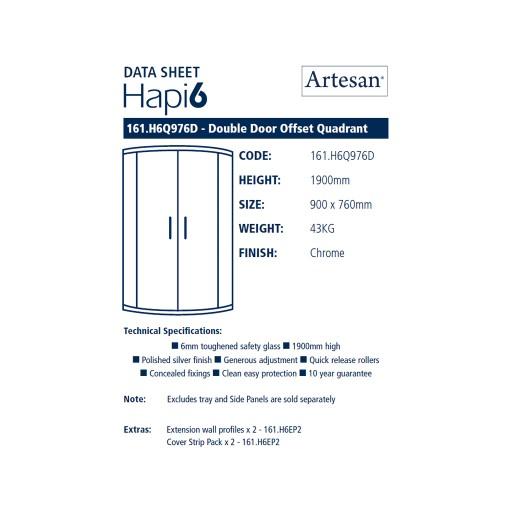 Artesan Hapi6 Double Door Quadrant Shower Enclosure - 900MM x 760MM