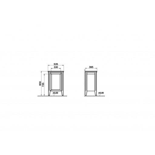 VitrA Valarte Left Hinged Single Door Matt Grey Storage Cabinet - 535MM