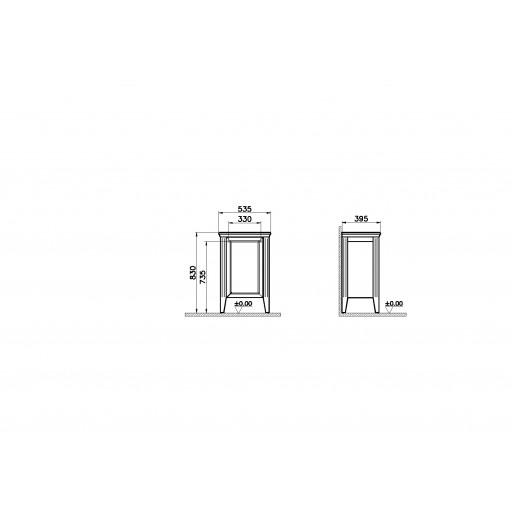 VitrA Valarte Right Hinged Single Door Matt Grey Storage Cabinet - 535MM