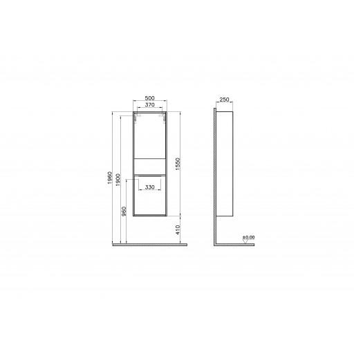 VitrA Integra Tall Storage Unit - 500MM - Walnut - Left Hand Hinged